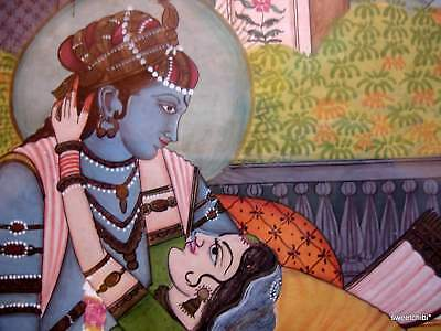 VINTAGE  Framed Rajastan India Miniature Painting KRISHNA and RADAH Sublime Love