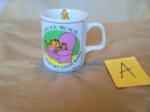 VTG GARFIELD THE CAT COFFEE CUP MUG YOU KEEP MY CHAIR WARM ENESCO JIM DAVIS 1978