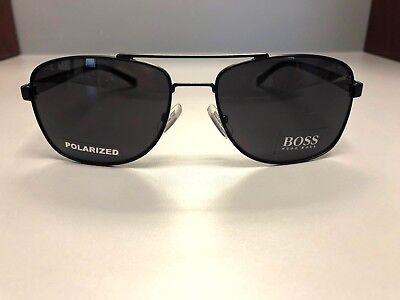 Hugo Boss 0762/S Mens Fashion Designer Aviator Sunglasses- Black- Polarized- NEW