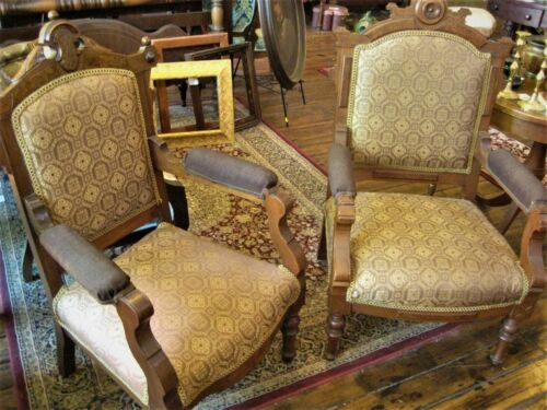 Pair of Higher end Victorian Renaissance Parlor Chairs, New Upholstery