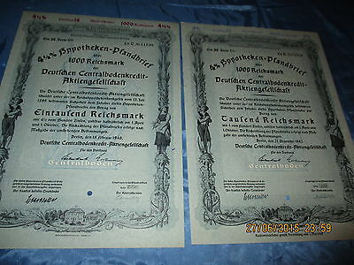 511 : 2 x Wertpapier / historisch , Pfandbrief , Februar 1940 + Dezember 1942