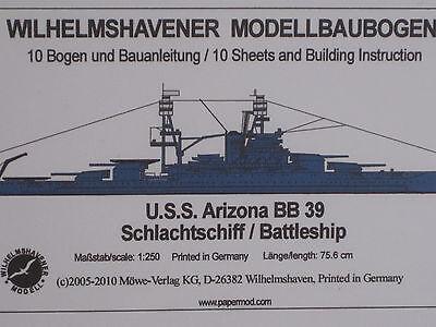 USS Arizona BB39 SchlachtschiffSchiff Wilhelmshavener Modellbaubogen Bastelbogen