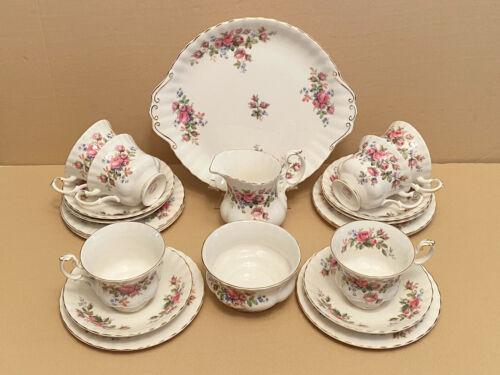 "Royal Albert ""Moss Rose"" English Bone China 21 Piece Tea Set c 1960 +"