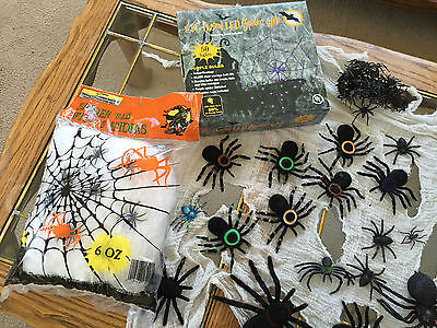 HALLOWEEN SPIDER LOT w/ 5ft LED Lit Web 2 BIG Furry Spiders 1 Dropping 15+ More