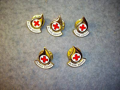 Eight Pieces  American  Red Cross Blood Donor Pins   8 Pcs   Lapel Tie Tac