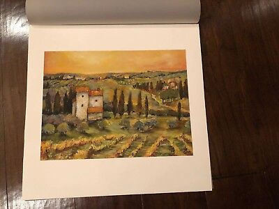 Tuscan Landscape Art (Tuscan Italian Sunset~Landscape Signed Original Watercolor Art)