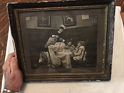 Early 1900/'s Framed Sepia Photograph Nostalgic 3 Boys Cross Country Skiing in Europe Re-purposed Memories