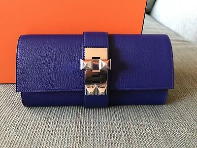 Hermes Medor Clutch Chevre Leather In Bleu Electric! Very Rare!