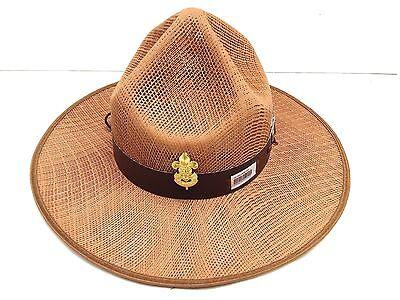 Boy Scout Stetson Safari Khaki Baden Badge Cow Sheriff Hat Plastic Mesh Golf