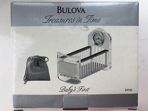 NIB Bulova Baby's First crystal/chrome cradle clock