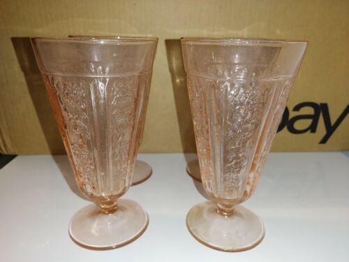 Federal Depression Glass Sharon Cabbage Rose Pink Footed Ice Tea Tumbler set