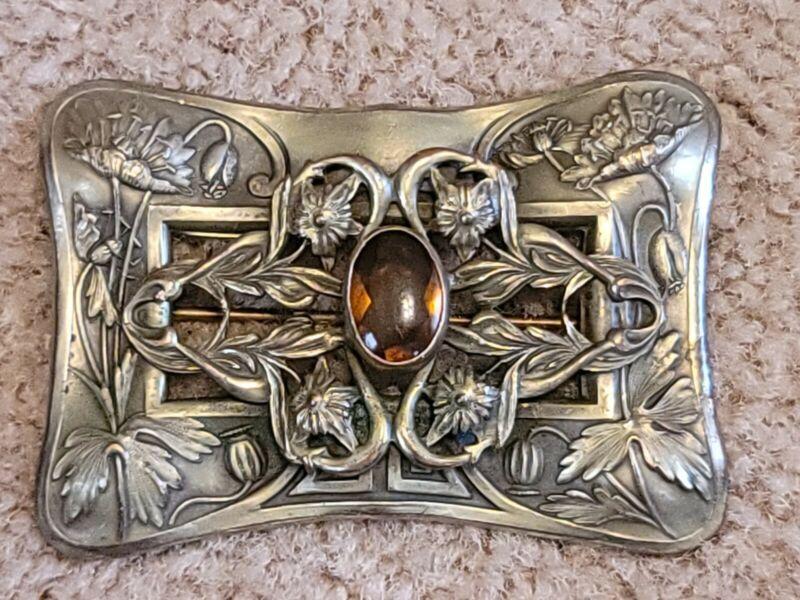 Antique Art Nouveau Amber Cabochon Rhinestone Brass Flower Brooch