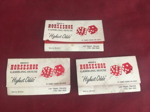 OBSOLETE LOT OF  3 Binions Horseshoe Casino 3 BENNY BINION business card