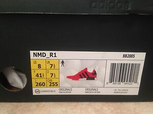 Adidas core red nmd size 8