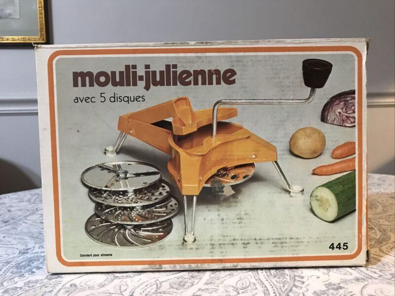 Vintage Mouli Julienne Moulinex 445 Food Slicer Grater w/ 5 Discs France Made