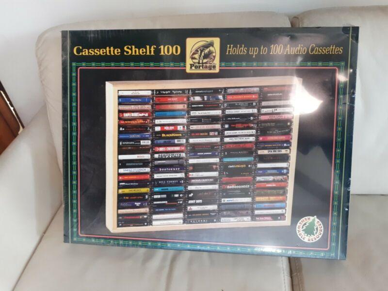 100 Cassette Holder Wood Wooden Wall Mount Shelf New NOS