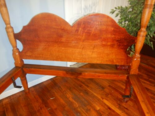 Antique Tiger Maple High Post Bed Curly Birdseye Eastern Shore Delaware Maryland