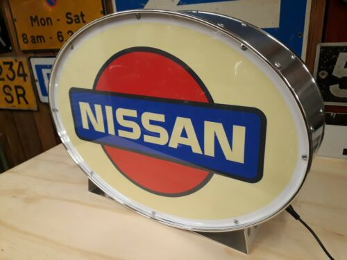 Nissan,showroom,automobilia,classic,display,mancave,lightup sign,garage,workshop