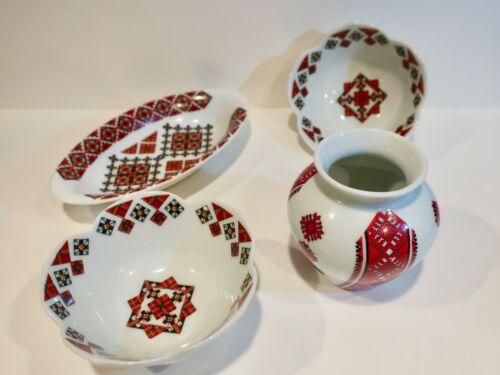 Beautiful 4 Piece Lot Ukrainian Ceramics by Marusia