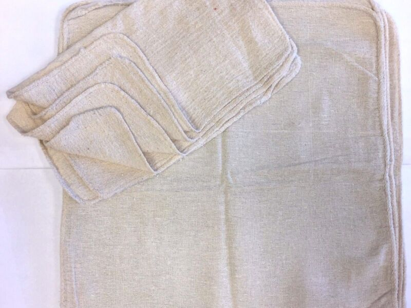 "1000 PIECES INDUSTRIAL SHOP RAGS / CLEANING TOWELS NATURAL 13""X14"""