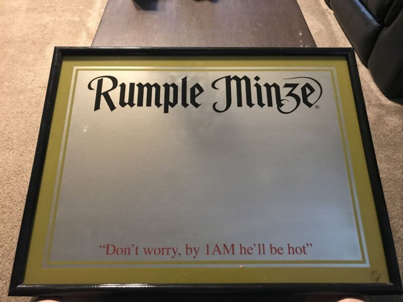 """Rumple Minze Schnapps Mirror """"Don't Worry, By 1AM He'll Be Hot"""""""