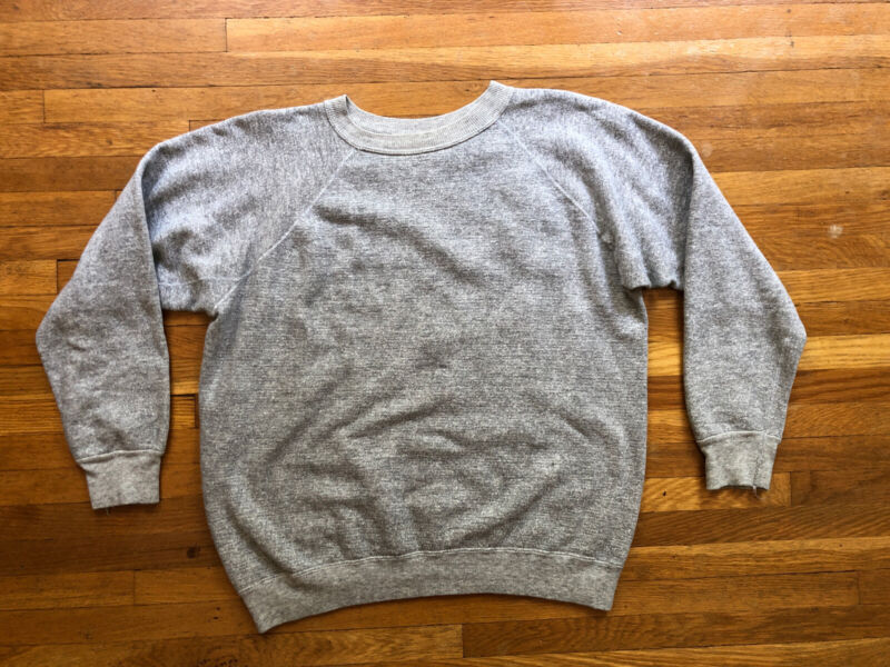 Vintage 1950s 1960s raglan sweatshirt small Loopwheel thick cotton Gussets Gray