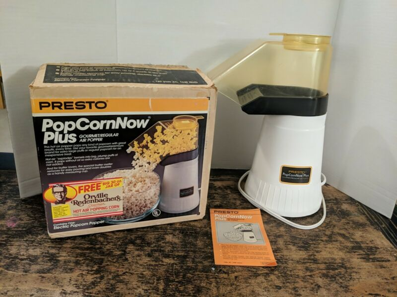 Presto Popcorn Now Plus Hot Air Popper 04820 w/ Original Box/Manual