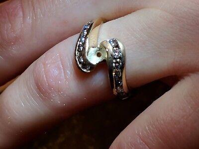 Diamond Semi Mount Ring Setting 14K Yellow Gold Channel Set Bypass  Channel Set Semi Mount Ring