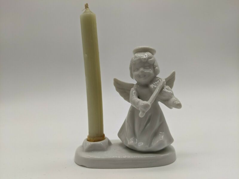 Lenox Porcelain Angel with Violin Taper Candle Holder