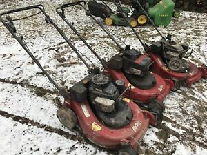 3 large commercial mowers. As is/for parts or repair. with bags