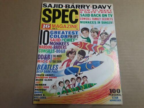 Vintage Spec 16 Teen Magazine No. 13 Spring 1968. Music, T. V. Pop Culture