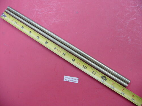 """2 Pieces 3/8"""" C360 BRASS SOLID ROUND ROD 14"""" long New Lathe Bar Stock .375"""""""