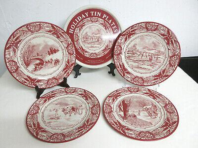 2006 RESTORATION HARDWARE Set/4 Red White Transferware Holiday Plates in Tin