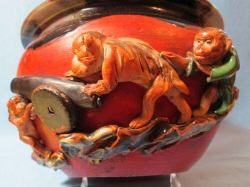 19th Century SUMIDA GAWA Large MONKEY Bowl ~ Signed