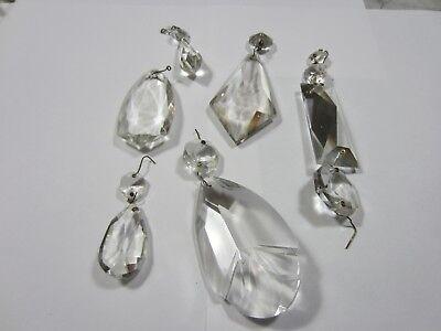 Antique Vintage 6 Teardrop Crystal Glass Lamp Chandelier Prisms 2 Part mixed lot