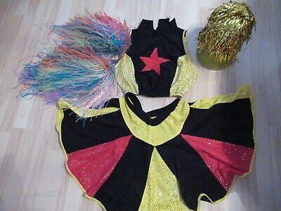 Karneval Fasching Frau Gruppenkostüm Cheerleader Gr. M + Pompons+ Perücke