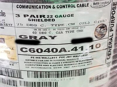 Carol C6040a 223p Individually Shielded Twisted Pairs Data Cable Gray 50ft