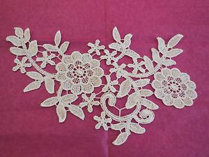 Blanco-de-boda-cordel-encaje-floral-Aplique-motivo-para-costura-in-24-5x15cm