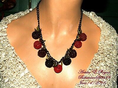 ARTURO E.REYNA AWESOME RED RASPBERRY HANGING CHARMS HANDCRAFTED BIB NECKLACE