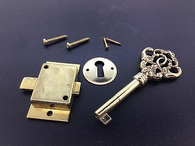 Fancy Brass Curio Cabinet Front Door key and Lock Set  Front Curio Cabinet