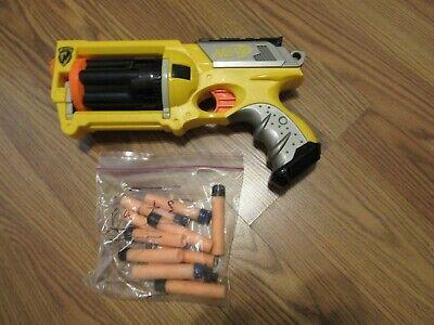 NERF, BOYS & GIRLS YELLOW/GRAY PLASTIC MAVERICK REV-6 GUN WITH SOFT DARTS