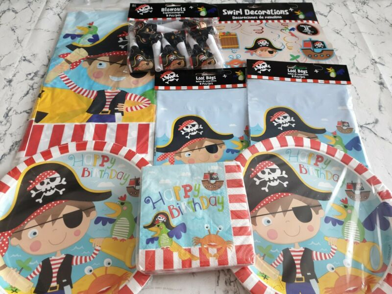 Little Pirate Boys Birthday Party Set Plates Napkins Tablecloth Decorations Ship