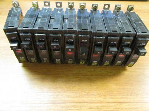 Square D Circuit Breakers 1P, 30A, Cat# QOB130 (Lot of 10) ..  UA-608