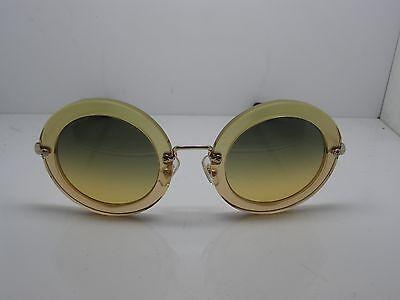 NEW Authentic MIU MIU SMU 13N PDA-1F2 Gold Glitter/Gold Oval 49mm Sunglasses