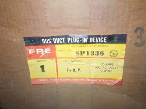 Fpe Sp1336 Bus Duct Plug-in Device 30a 3ph 3w 600v New Surplus