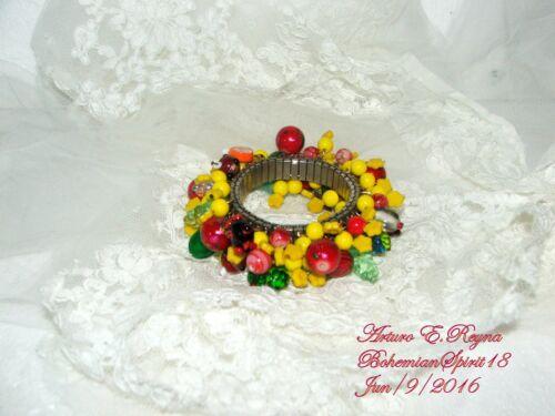 ARTURO E.REYNA  FRUIT SALAD VINTAGE CZECH GLASS CHARMS EXPANDABLE BRACELET