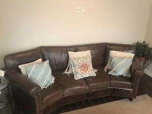Brown leather couch x2 and ottoman custom made