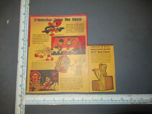 Vintage Disney Pinocchio Blue Fairy Post Toasties Cereal Box Back