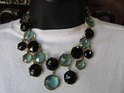 Gold Tone Bib (NEW CHICOS Bib Necklace Gold Tone with Blue and Black Bubble Discs)