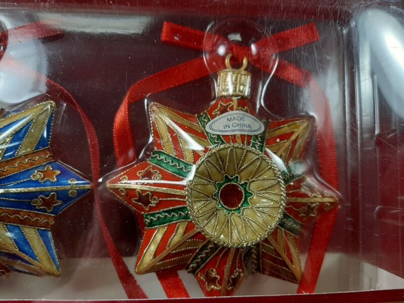 Dillard's Cloisonné CHRISTMAS STAR ⭐️ ORNAMENTS 4 (2 Sets)Trimmings Hand Crafted